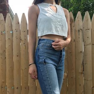 Tops - CROPPED WHITE TOP WITH EMBROIDERY